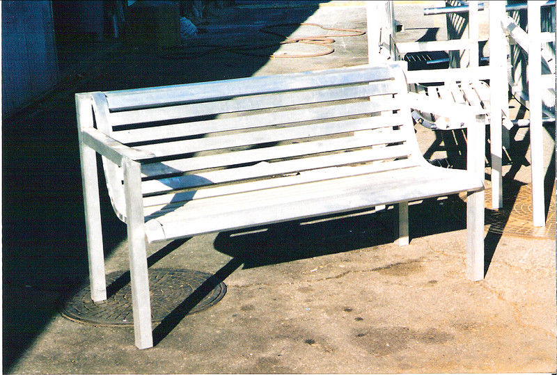 Matching aluminum bench - Wood residence, Springville, CA