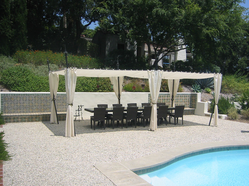 Steel scroll table and canopy - Bell residence, Pasadena, CA