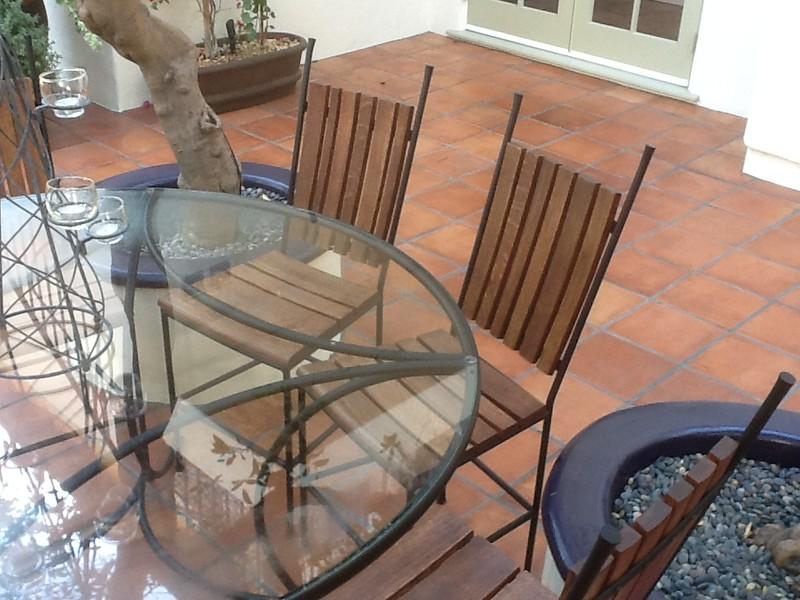 Whiskey barrel patio set detail - Miller residence, San Marino, CA