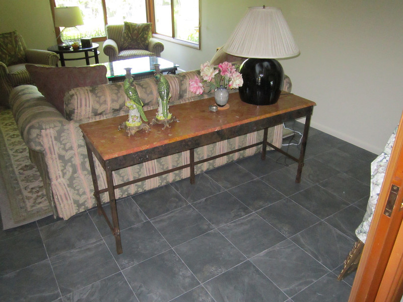 Blackened steel table base - Risoli residence, Altadena, CA