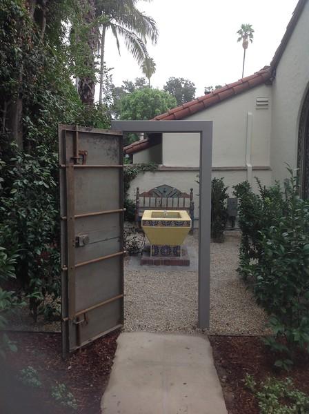 Antique Safe Door Gate; Miller residence, San Marino, CA