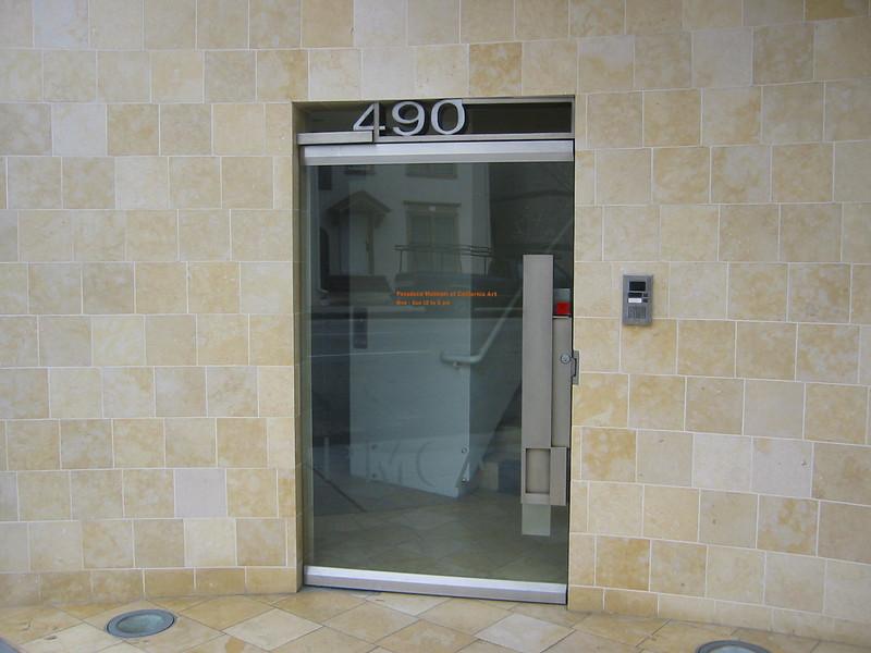 Door hardware and address numbers - Pasadena Museum of California Art, Pasadena, CA