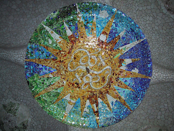 Ceiling mosaic in Park Guell.  One of my favorite pictures.