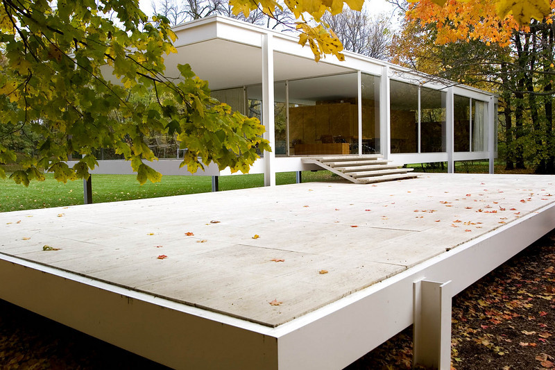 Dr. Edith Farnsworth House, View from South West<br /> Ludwig Mies van der Rohe, 1951<br /> Plano, Illinois