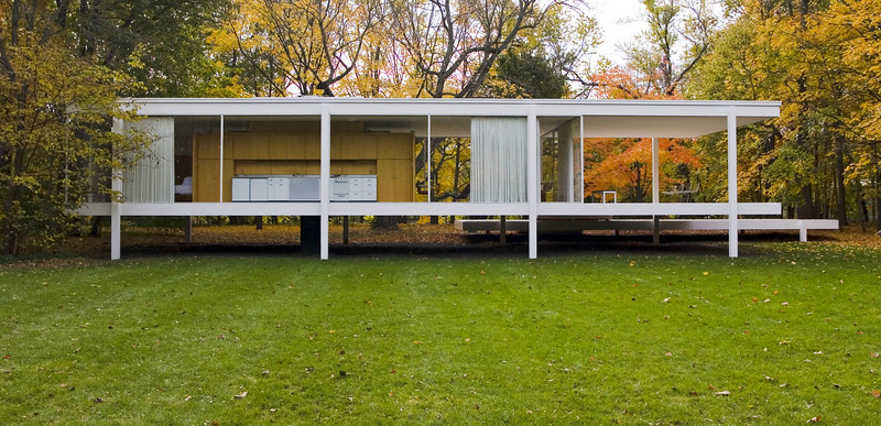 Dr. Edith Farnsworth House, North Facade<br /> Ludwig Mies van der Rohe, 1951<br /> Plano, Illinois