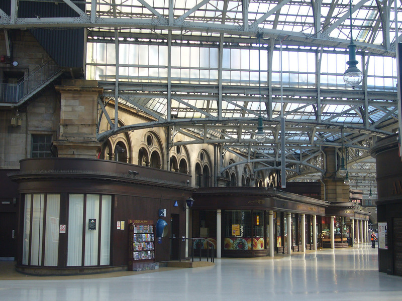May 2012. Glasgow city centre. Central Station. Just one member of staff on duty at this hour on a Sunday.