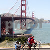 Bicyclists ride past the Golden Gate Bridge during a celebration of its 75th anniversary in San Francisco, California, on May 27, 2012. UPI/David Yee