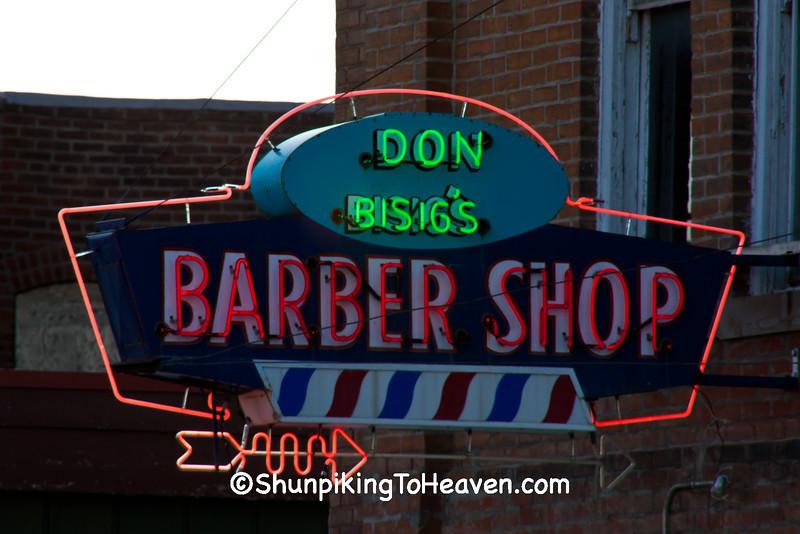 Sign for Don Bisig's Barber Shop, St. Joseph, Missouri