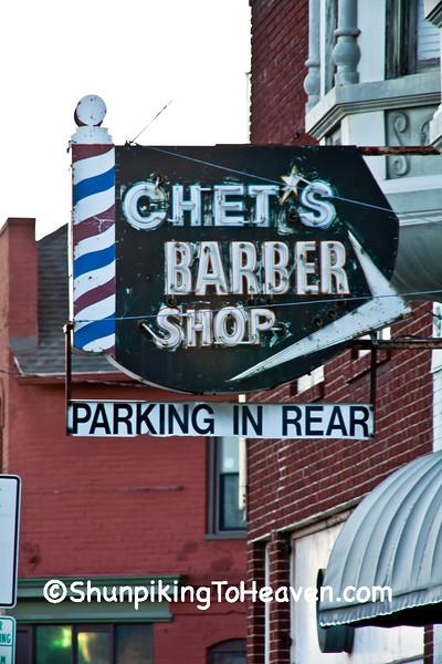 Sign for Chet's Barber Shop, St. Joseph, Missouri
