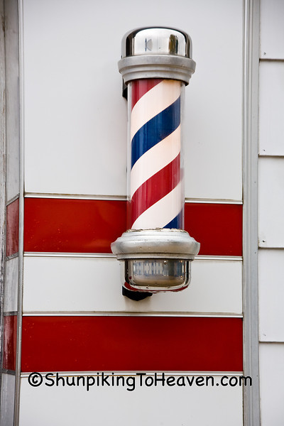 Barber Pole on 1950's Barber Shop, Shawano County, Wisconsin