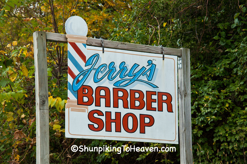 Sign for Jerry's Barber Shop, Jackson County, Wisconsin