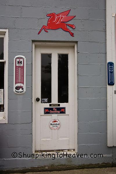 Door to Ernie's Diamond Service Station, Filmore County, Minnesota