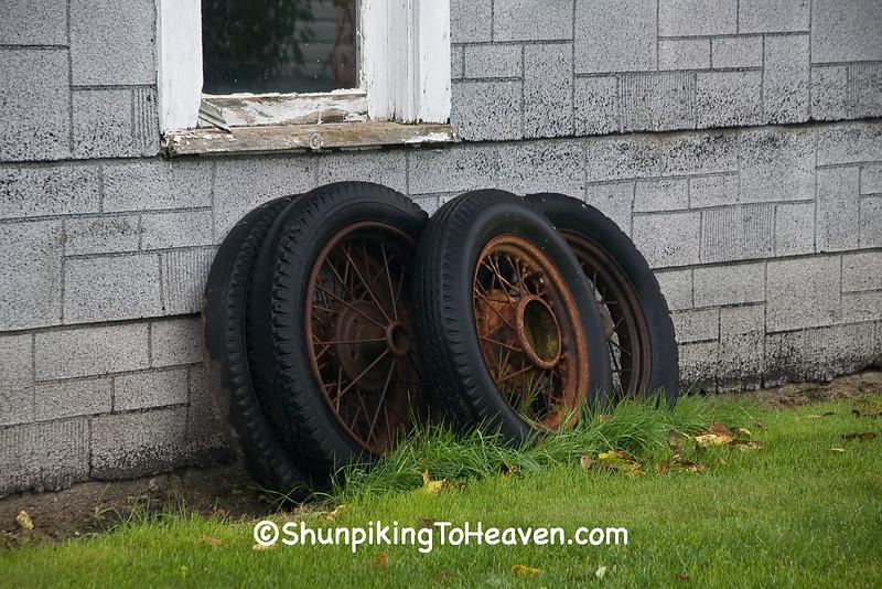 Old Wheels at Ernie's Diamond Service Station, Filmore County, Minnesota
