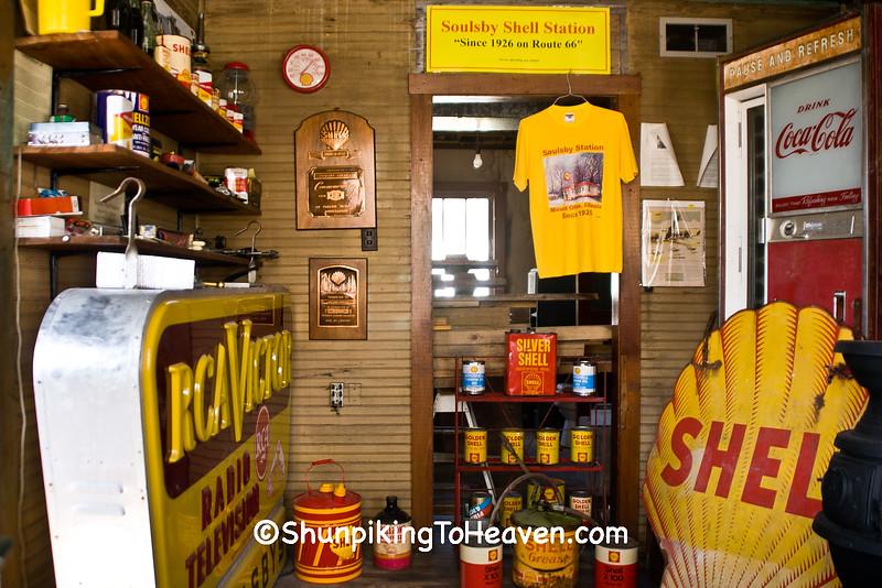 Inside Soulsby's Service Station, Mount Olive, Illinois