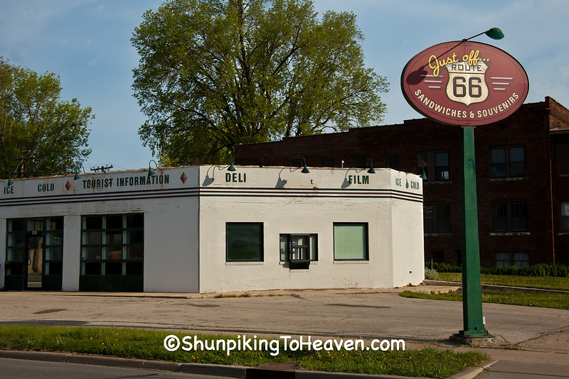 """Old Service Station """"Just Off Route 66"""", Springfield, Illinois"""