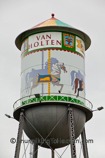 Vintage Water Tower with Carousel Mural, Waterloo, Wisconsin
