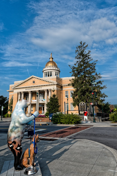 Painted Bear and Dog at Historic Courthouse