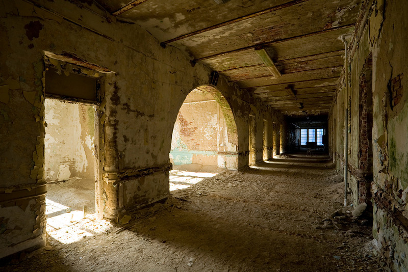 Ward corridor in the Kirkbride building at Greystone Park State Hospital.  This building was the largest Kirkbride building ever constructed.