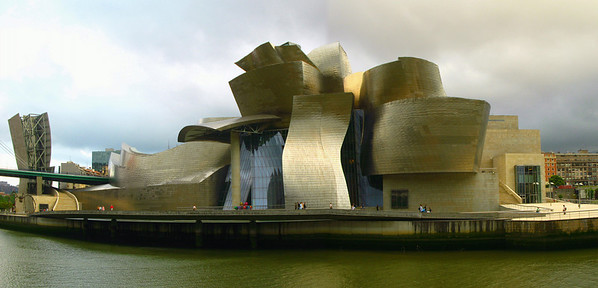 The Guggenheim Museum, Bilbao, designed by American architect Frank Gehry.