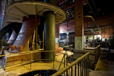 "Another view of ""Old #7"" approaching sunset, in the 1915 addition to the Engine House."