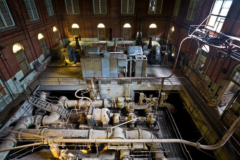 """View of the engine house addition from the top of the """"Old #7"""" pumping engine, taken in 2009."""