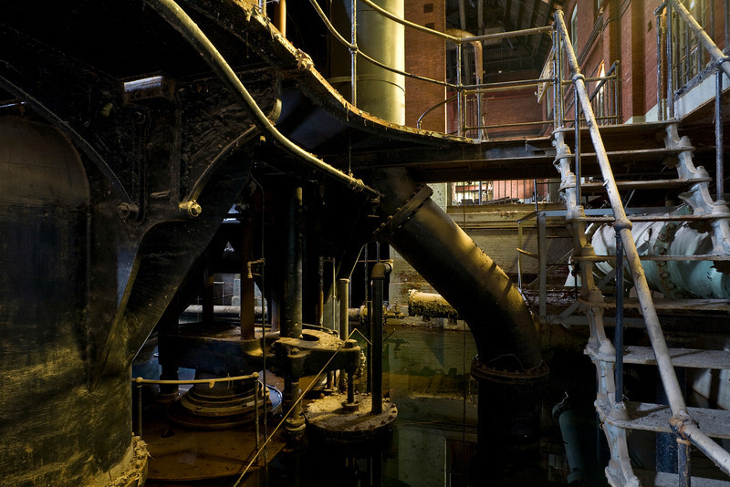 """Stairs down to sub-level of Allis-Chalmers 5 story VTE known as """"Old #7""""."""