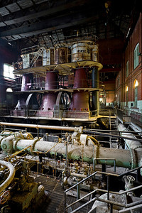 "View of 5-story tall Allis-Chalmers VTE pumping engine, known as ""Old #7"", and lovingly maintained by the staff of the Water Works until its abandonment."