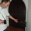 Mike is examining the HUGE lock on this door inside the church.
