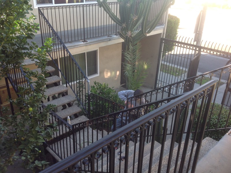 Exterior stair railing - Apartment building, Long Beach, CA
