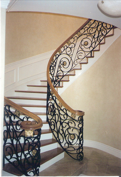 Spiral stair rail - Alamdari residence, La Canada, CA