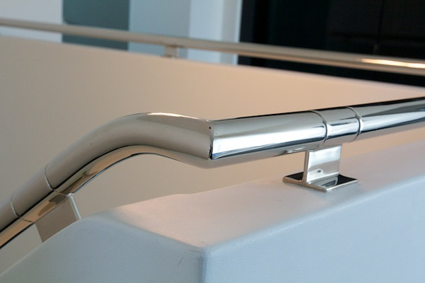 Chrome plated pipe rail - Yelin residence, Westwood, CA