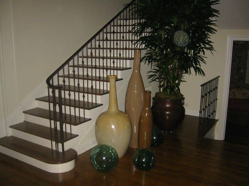 Stair rail & powder room rail (right) - Levy residence, Pasadena, CA