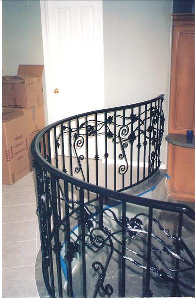 Radius rail over looking family room - Carpenter residence, La Canada, CA
