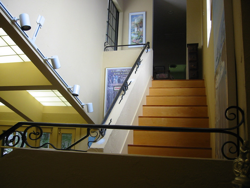 Stair rail close-up - Thayler residence, Pacific Palisades, CA