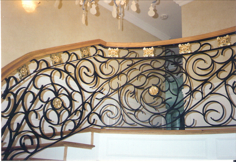 Second floor stair rail - Alamdari residence, La Canada, CA