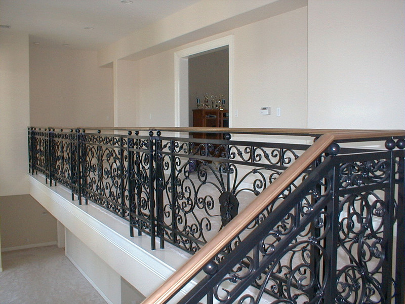 Ornate second floor handrail - Latanzio Residence, Woodland Hills, CA