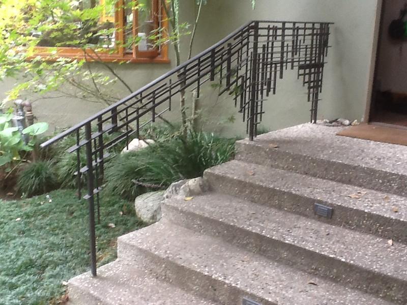 Exterior stair rail - Boot residence, Altadena, CA