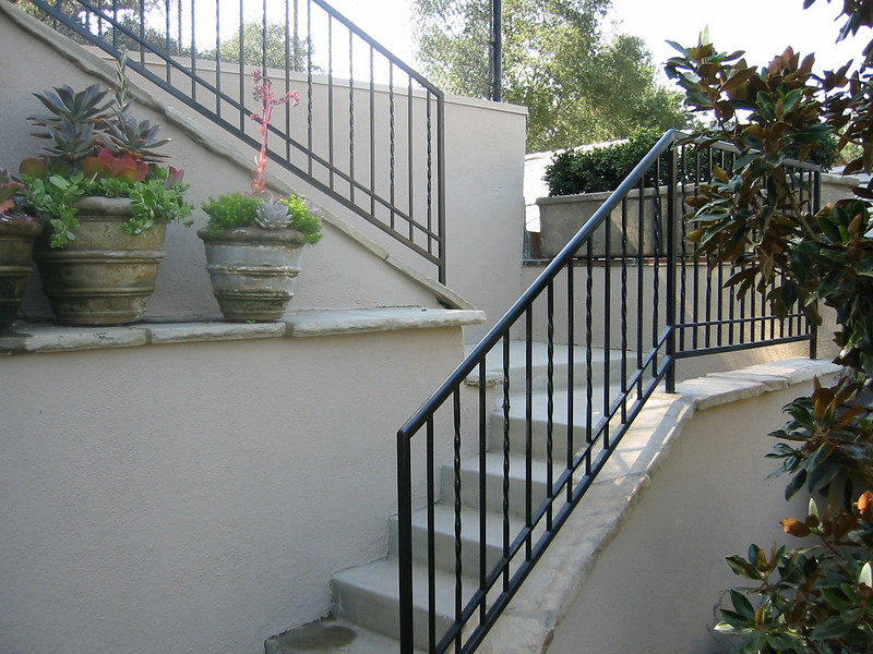Sports court stair rail close-up - Muerer residence, La Canada, CA