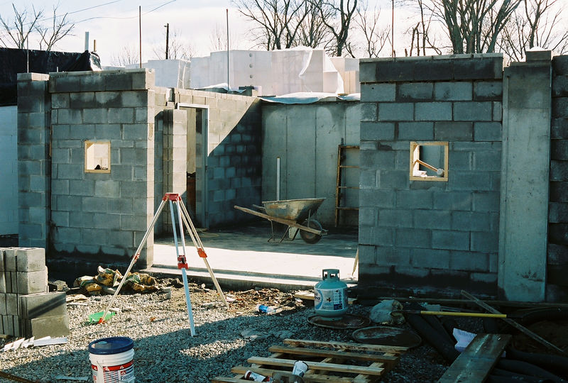 Garage block ready for second floor slab formwork.