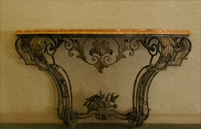 Hawai'i State Art Museum  Spanish Mission Revival, 1928 Ornate wrought-iron table with marble topHonolulu, Hawai'i