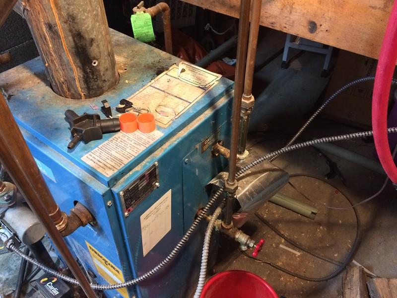 Existing domestic hot water plumbing at boiler.