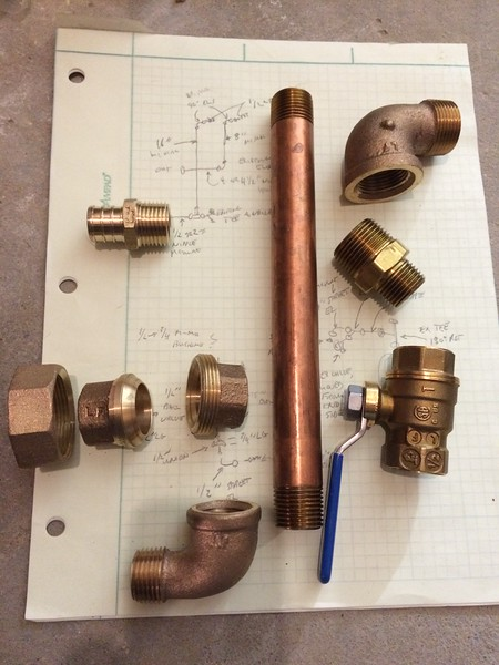 'New' pump outlet fittings.
