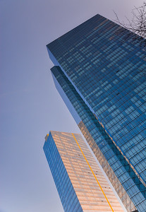 Blue and Orange Glass Towers