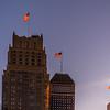 Skyscraper Sunset Flags