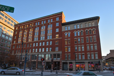 Historic buildings on Essex Street in Downtown Boston