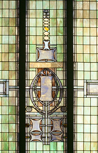 Front stained glass window from inside, detail