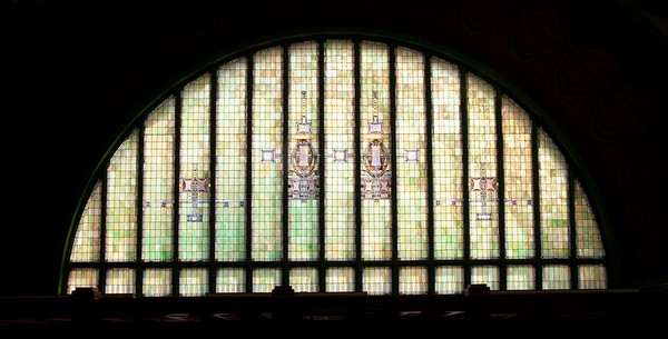 Front stained glass window from inside