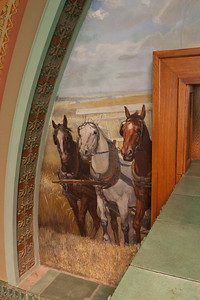 Central mural by Oskar Gross, side with horses