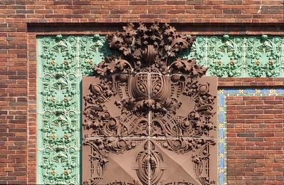 Terracotta detail on upper left corner, detail