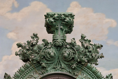 Central terracotta clock - upper section